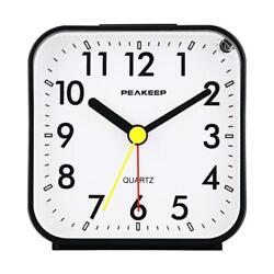 Peakeep Small Battery Operated Analog Travel Alarm Clock Silent No Ticking, L...