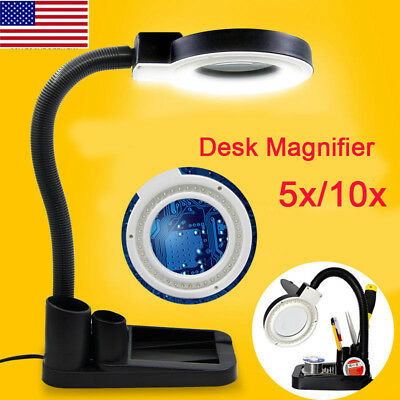 Magnifier With Light - 5X 10X Magnifier Magnifying Crafts Glass Desk Lamp With 40 LED Lights