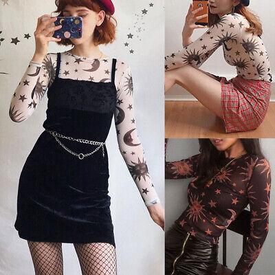 Women Mesh Sheer Net See-through Long Sleeve Angel Crop Top T Shirt Tee Blouse