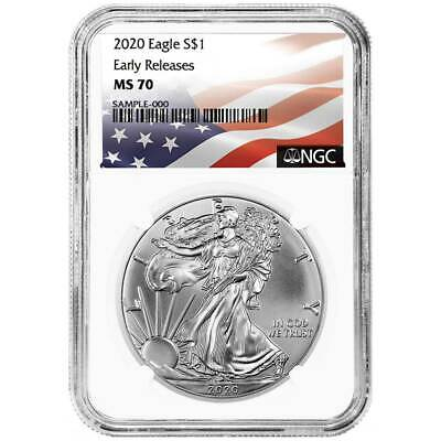 2020 $1 American Silver Eagle NGC MS70 Flag ER Label