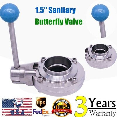 1.5 Inch Sanitary Stainless Steel 304 Butterfly Valve Tri Clamp Food Grade Usa