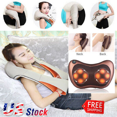 Electric Shiatsu Back Neck Back Foot Massager Kneading Massage Pillow W Heat Us