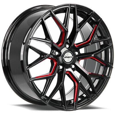 "4-Shift Spring 18x8 5x120 +35mm Black/Red Wheels Rims 18"" Inch"