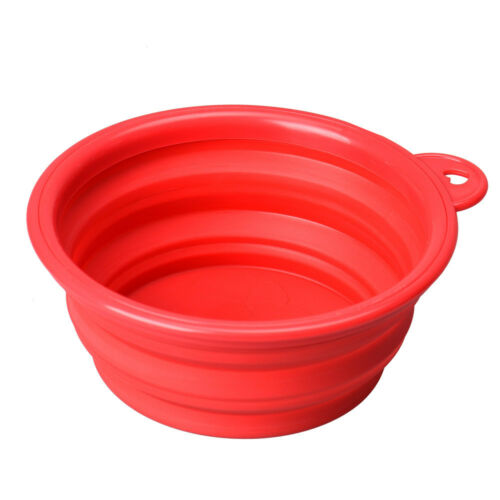 HOT Red Puppy Dog Cat Collapsible Feeding Pet Bowl Water Food Feeder Travel Dish