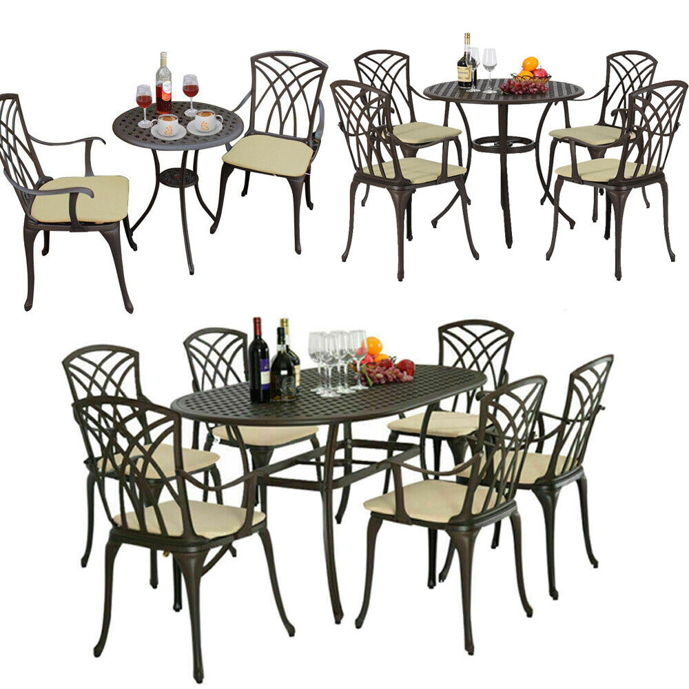 Garden Furniture - Garden Furniture Set Patio Cast Aluminium Table and Chairs Bistro Outdoors