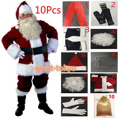 US Seller!10pc Deluxe Men's Santa Claus Father Christmas Costume Plush Suit