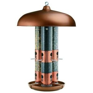 Used Perky-Pet 7103-2 Copper Triple Tube Bird Feeder Condtion: USED, beige, 1