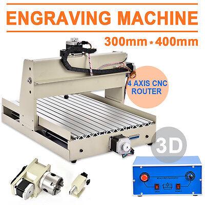 4 Axis Cnc Router 3040 Engraving Machine Diy 3d Desktop Carving Cutter 400w Rc