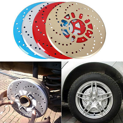 2x  Aluminium Disc Brake Cover Vehicle Car Wheel Decorative Rotor Cross Drilled