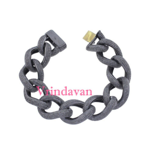"Natural Rosecut Diamond 925 Sterling Silver Vintage 7.5"" Link Bracelet Jewelry"
