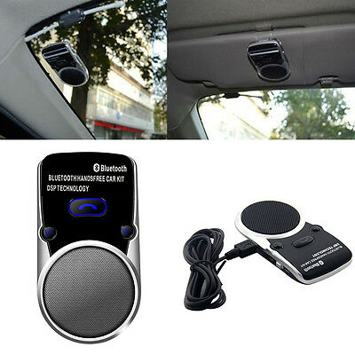 Solar Powered USB Charge Bluetooth Car Kit Hands Free Speaker Stero Music player