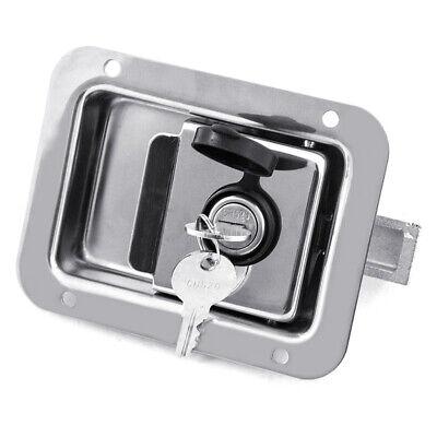Stainless Steel Trailer Door Paddle Lock Latch Handle Truck Tool Box + 2 Keys  ()