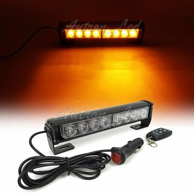 9 Led Emergency Warning Amber Flash Dash Remote Control Grill Strobe Light Bar