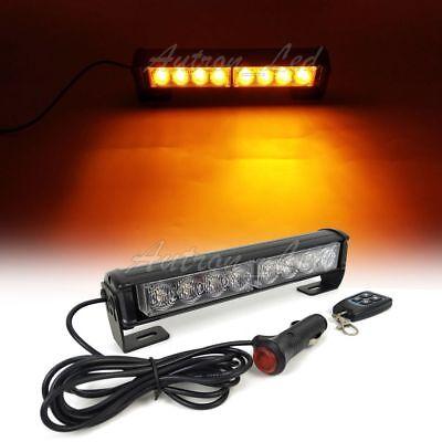 9 Led Emergency Warning Amber Flash Dash Remote Control Grill Strobe Light Bar