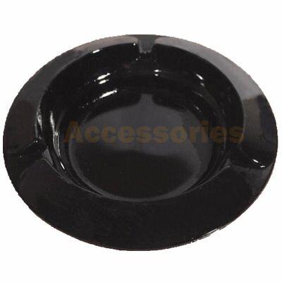 "4"" inch Round Cigarette Glass Ashtray Black New"