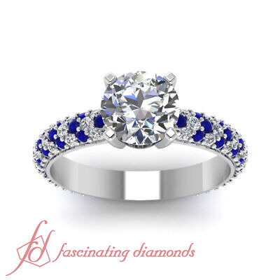 Blue Sapphire Pave Engagement Rings Women 1.10 Ct Round Cut F-Color Diamond GIA 1