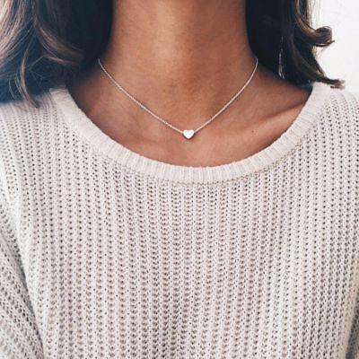 Women Tiny Heart Choker Necklace Small Silver Love Bohemian Choker Necklace