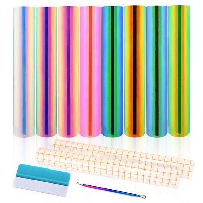 Holographic Adhesive Permanent Vinyl Sheets Bundle 12x12 Transfer Tape Tools