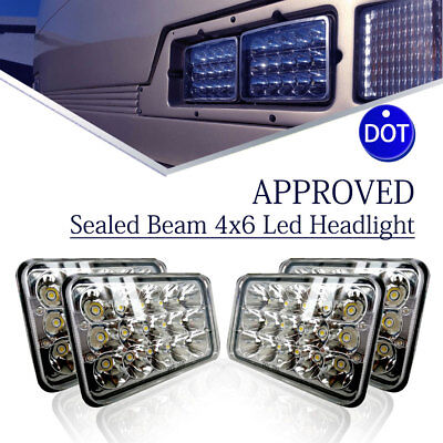 4pcs DOT Approved 4x6 LED Headlights Bulb for Peterbilt Freightliner Kenworth