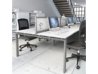 CLEARANCE - IMMACULATE Italian Modern White/Aluminium Desks - QUICK SALE - COLLECTION FROM HOVE