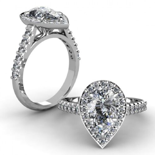 Solid 18k White Gold Pear Shape Diamond Engagement Ring 2.34 CTW GIA Certified