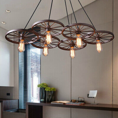 Wagon Wheel Chandelier Rustic Hanging Light Fixture Ceiling Pendant Kitchen -