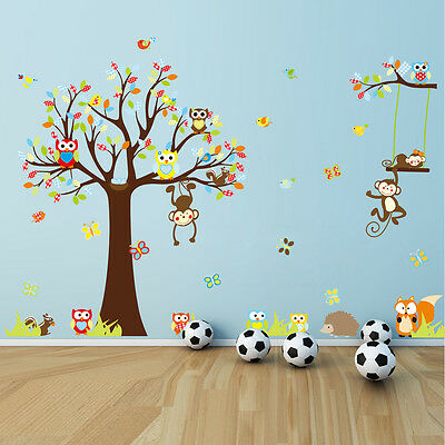 Large Flowers Monkey Owl Tree Removable Wall Decal Sticker Kid Room Home Decor