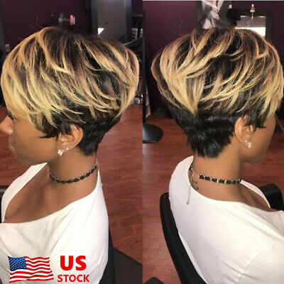 Women Ombre Black Gold Blonde Short Wavy Style Synthetic Afro Wigs with Bang US - Blonde Wig With Bangs