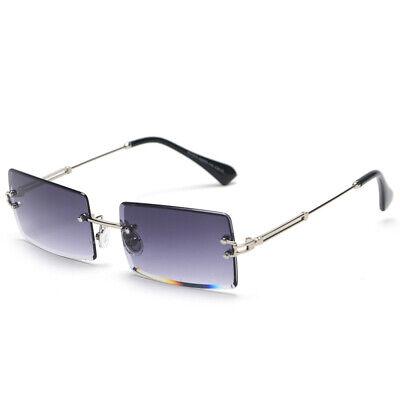 Mens Vintage Retro Rectangle Silver Blue Gradient Polarized Tint (Gradient Tint Sunglasses)