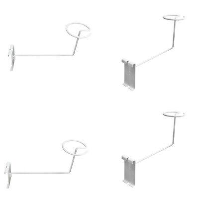 4 Pc White Hat Racks Wire Grid Wall Cap Slat Panels Gridwall Display Hook Retail