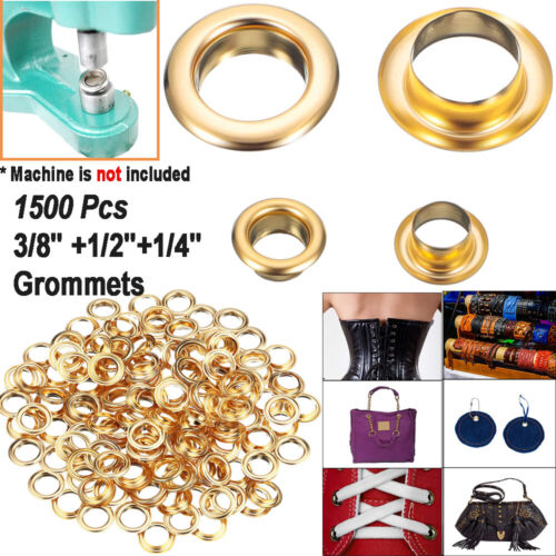 """1/4"""", 3/8"""",1/2"""" Grommets,500PC Eyelets with Washer Golden,Two Piece, CHOOSE Size"""