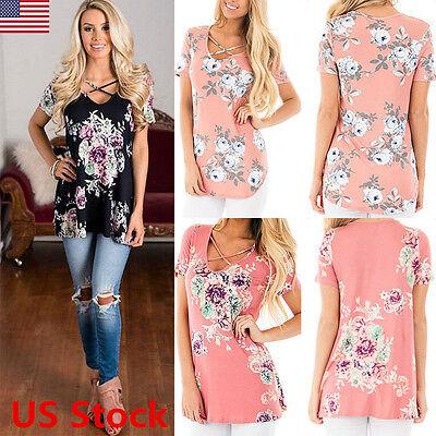 Women Casual Loose Short Sleeve Floral Printed Blouse Shirt Tops Fashion T-shirt