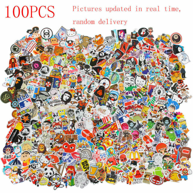 100X Random Luggage Stickers Pack Car Skateboard Guitar Fridge Decal Waterproof