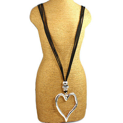 Large silver heart pendant  black leather suede long necklace costume jewellery
