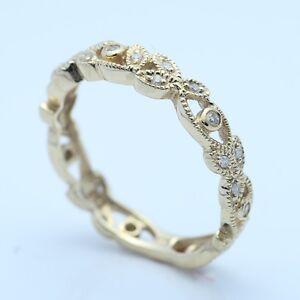 Solid 10k Yellow Gold Engagement & Wedding Diamond Ring Female Eternity Bands