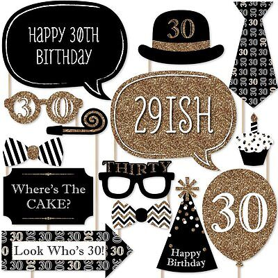 20pcs 30th Birthday Black Gold Birthday Party Photo Booth Props Favour Kit DIY