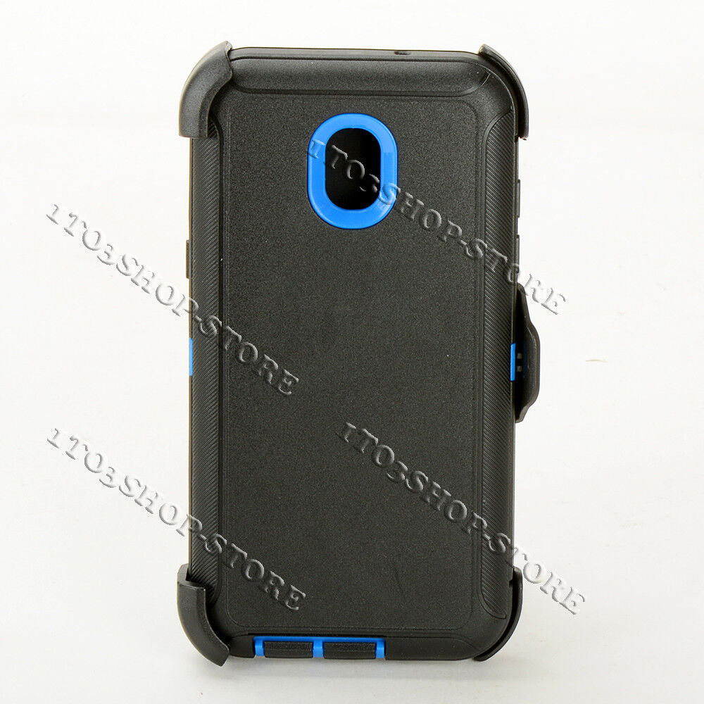 uk availability 93d70 e34d3 Details about Samsung Galaxy 2018 J7/J7 V 2nd Gen Defender Case w/Holster  Belt Clip Black/Blue