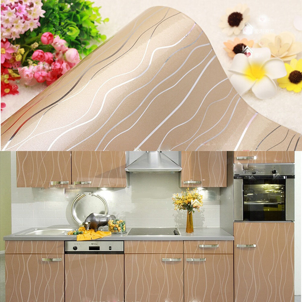 Yazi contact paper champagne kitchen cupboard cover self for Adhesive covering for kitchen cabinets