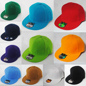 NEW-PLAIN-FLAT-PEAK-FITTED-HAT-CAP-BLACK-GREEN-NAVY