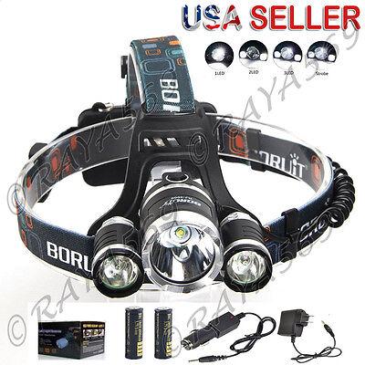 Boruit 12000Lm 3X XML T6 LED Headlamp Head Light Torch USB 18650 Car Charger