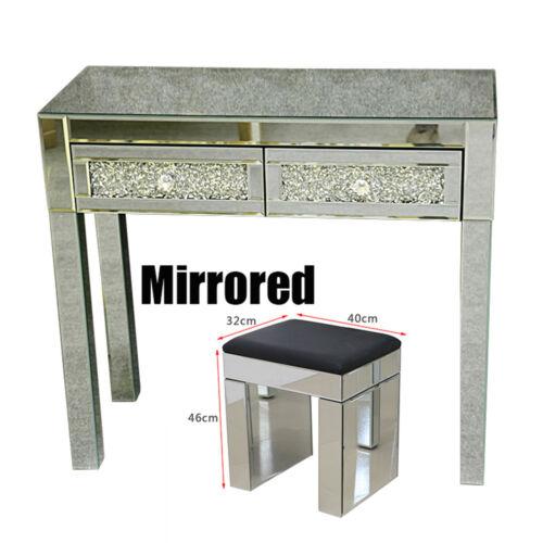 Details zu Verspiegeltes Glas 2 Schubladen Dressing Tischset mit Hocker  Spiegel Konsole