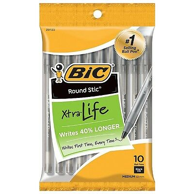 Bic Round Stic Xtra Life Medium Ballpoint Pen, Black Ink 10 ea