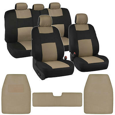 12pc Car Seat Covers Carpet Floor Mats Liners Black/Beige Stitched Polyester