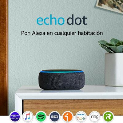Echo Dot (3.ª generación) - Altavoz inteligente con Alexa, tela color antracita