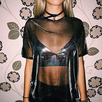 Hollow Women Sexy Transparent Round Neck Short Sleeve T-shirt Club Top Blouse