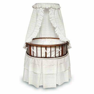 Badger Basket Round Cherry Bassinet With White Bedding         916