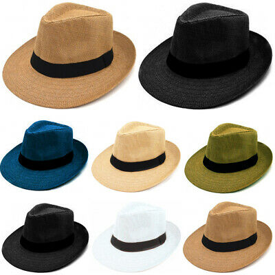 Panama Big Brim Fedora Summer Flat Brim Straw Paper Hat Cap Beach Sun Men Women