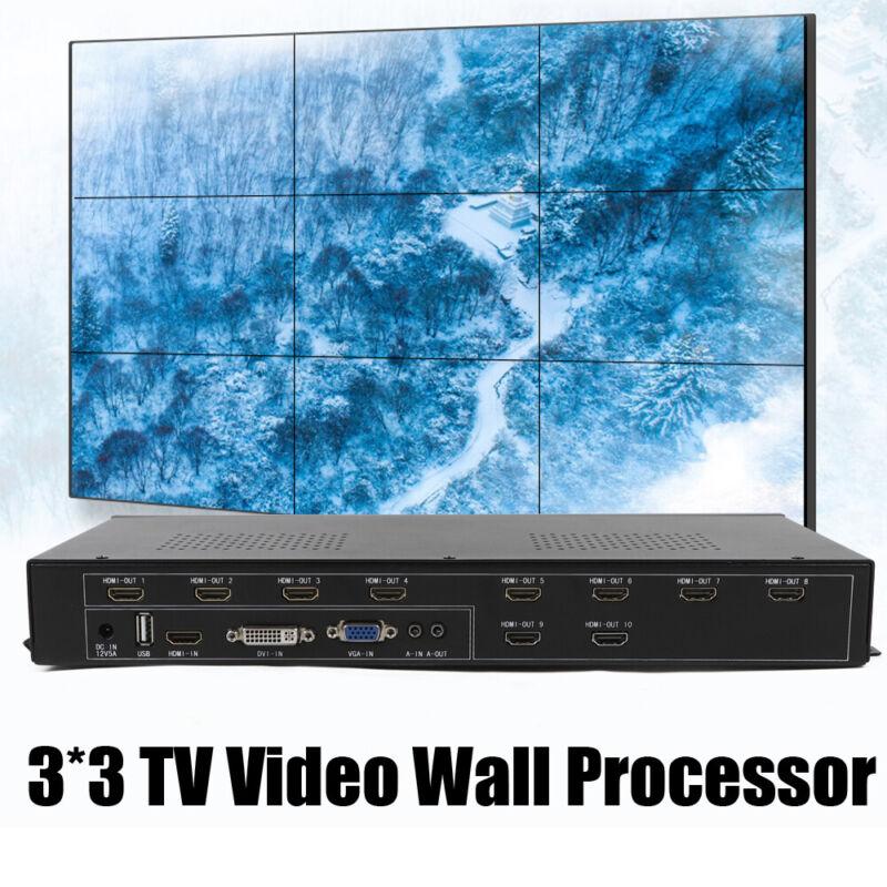 9 Channel TV Video Wall Controller 3x3 2x4 HDMI DVI VGA USB Video Processor 60HZ