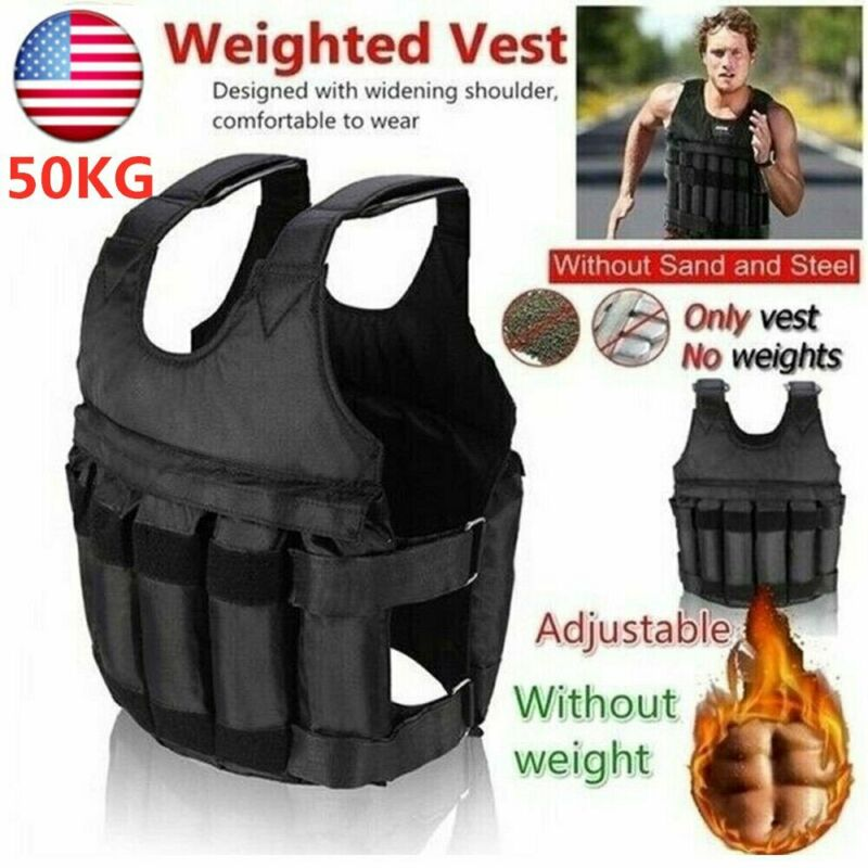 50KG Adjustable Workout Weighted Vest Exercise Strength Training Fitness E