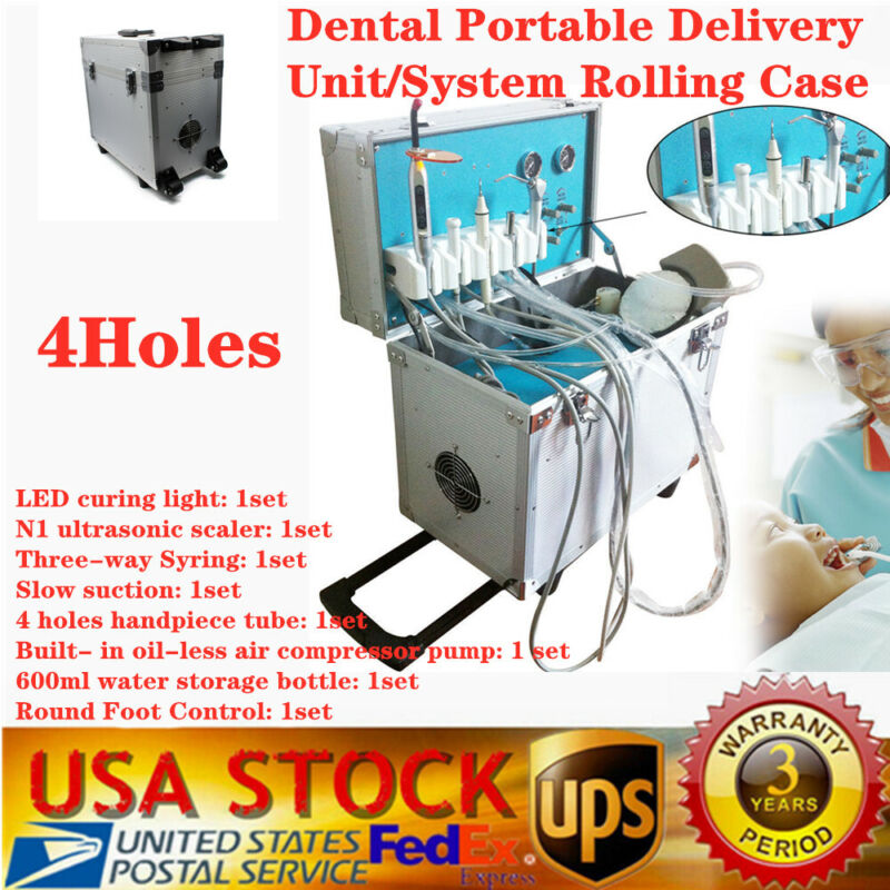 Dental Portable Delivery Unit Rolling Case w/ Weak Suction Air Compressor+Scaler